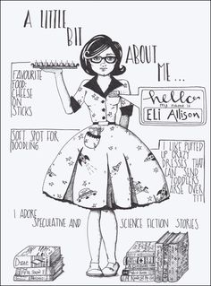 An illustrated ink bio. With fun font mixes and doodled space dress. A drawing of a science-fiction loving lady with glasses, surround by books. Bullet Journal Inspo, Bullet Journals, Crazy Dresses, Dark Comics, Line Drawing, Drawing Ideas, Weird Gifts, Cool Fonts, Science Fiction