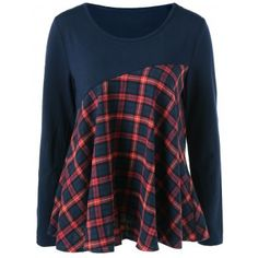 Plaid Trim Elbow Patch Blouse (BLUE AND RED,XL) in Blouses | DressLily.com