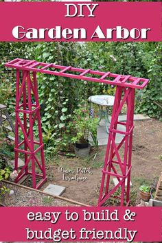 DIY obelisk arbor, easy to build and budget friendly. Build this beautiful arbor for your climbing plants, an easy way to trellis your roses, clematis and more. Beginner friendly garden structure. #gardening #trellis