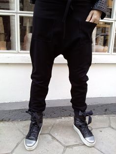 Hey, I found this really awesome Etsy listing at https://www.etsy.com/listing/180323545/loose-casual-black-drop-crotch-pants