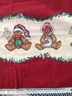 Daisy Kingdom Fabric 2 Yards 20 034 Double Border Ted E Bear Christmas Teddy Bears | eBay
