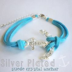 Aqua blue  silver plated anchor bracelet Suede and silver plate Crystal anchor. 15% off bundles. Sorry no trades or paypalNew! Jewelry Bracelets