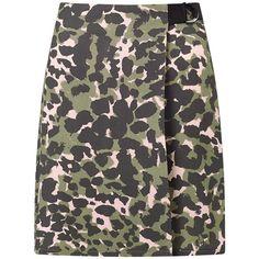 Miss Selfridge Camo D-Ring Mini Skirt, Multi (€18) ❤ liked on Polyvore featuring skirts, mini skirts, wrap front skirt, camo skirt, print skirt, short mini skirts and miss selfridge