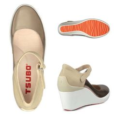 """Tsubo WedgesNordstrom's Show some personality & put some bounce in your step in this playful Tsubo """"Dreux"""" shoe. Stylish, sneaker-inspired Mary Jane; this high-heeled wedge has a nubuck & light gold patent leather upper. Adjustable strap with hook-and-loop closure. Approx. ½'' platform & 3'' heel. Fabulous, vibrant orange, rubber traction sole. Super comfortable✨Very good condition ✨Worn once. Has light color transfer from jeans contact✨LMK if you have questions. Tsubo Shoes"""