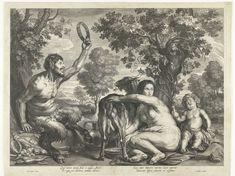 Schelte Adamsz. Bolswert | Jupiter gevoed door de geit Amalthea, Schelte Adamsz. Bolswert, 1596 - 1659 | De geit Amalthea wordt gemolken door een nimf voor de kleine Jupiter. Hij zit rechts als naakt kind op de grond met een fles in de hand. Links zit een lachende sater met tamboerijn. Onder de voorstelling staat een vers in Latijn.