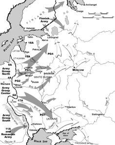 Los alemanes lanzaron un ataque en tres frentes contra la Unión Soviética: al norte, hacia Leningrado; al centro, hacia Moscú; y al sur, hacia Ucrania, lugar en que se localizan los campos petrolíferos del Cáucaso y Crimea.