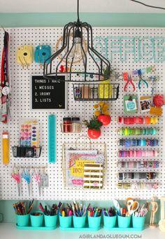 Organizing my craft room diy peg board diy craft storage my dream craft Diy And Crafts Sewing, Crafts To Sell, Diy Crafts, Pegboard Storage, Craft Storage, Storage Ideas, Large Pegboard, Diy Peg Board, Peg Boards