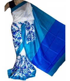 Off White and Blue Handloom Block Printed Murshidabad Silk Saree