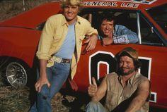 Ben Jones, John Schneider, and Tom Wopat in The Dukes of Hazzard (1979)