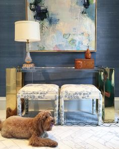 lucite and brass console and upholstered stools from blue print | blueprintstore.com interior design by collins interiors | collins-interiors.com