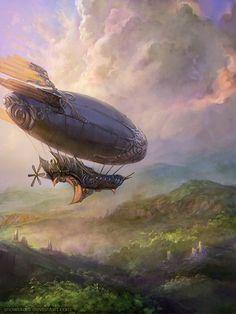 Airship by ~SnowSkadi (steampunk) Fantasy Kunst, Sci Fi Fantasy, Fantasy World, Steampunk Ship, Steampunk Fashion, Fantasy Landscape, Fantasy Inspiration, Sci Fi Art, Dieselpunk