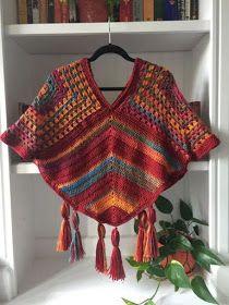Crochet Poncho Patterns, Crochet Coat, Granny Square Crochet Pattern, Crochet Granny, Crochet Motif, Crochet Shawl, Crochet Blouse, Crochet Stitches, Easy Crochet
