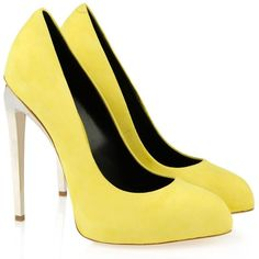 Giuseppe Zanotti Pump Women (8 145 UAH) ❤ liked on Polyvore featuring shoes, pumps, heels, zapatos, обувь, giuseppe zanotti pumps, high heel shoes, leather shoes, yellow shoes and yellow high heel pumps
