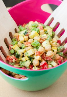 Farmer's Market Chopped Salad with Creamy Avocado Dill Dressing