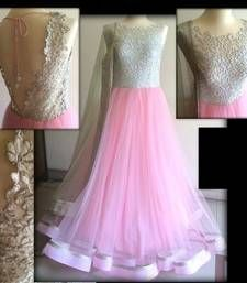 Buy Baby Pink embroidered net semi_stitched salwar with dupatta Online