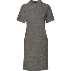 Tomas Maier Herringbone cotton and wool-blend dress (8.246.985 IDR) ❤ liked on Polyvore featuring dresses, grey, cotton day dresses, stretchy dresses, grey dress, cotton stretch dress and herringbone dress