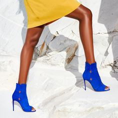 The 'Lucrezia Bootie' in electric blue will add instant impact to your outfit. #aquazzura