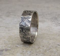 Mens Wedding Band Hammered Silver Distressed Rustic by SilverSmack