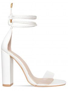 122b18566c Harley White Clear Lace Up Block Heels | shoes in 2019 | Heels ...