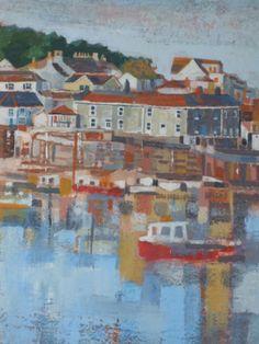 mousehole harbour, cornwall -  sold - visit http://www.karenjanegreen.com/apps/webstore/ for similar artwork