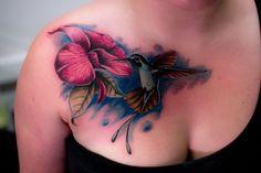 Hummingbird and flower chest tattoo - 55 Amazing Hummingbird Tattoo Designs  <3 <3