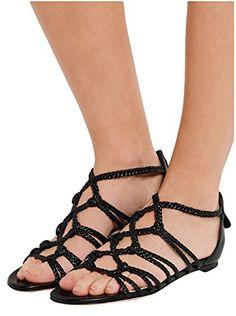 58dd7448e51 Kevin Fashion KLSDN210 Womens Rope Strap Black PU Leather Summer Beach  Walking Flats Sandals 9 M