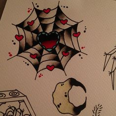 traditional spider web tattoo flash with hearts
