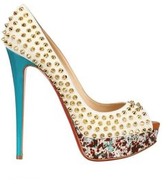 CHRISTIAN LOUBOUTIN Lady Peep Spikes Suede Pumps - Lyst