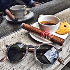 #Morning view with an #Italian #coffee, a great #cigar and our #Canvas brushed #frame with bootle green lenses  #tbdeyewear #thebespokedudeseyewear #dapper #dandy #style #elegance #menswear #menstyle #sunglasses #shades #specs #gafas #luxury...