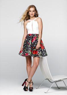 Tarik Ediz- Prom Collection Style #50036  Short Printed Prom Dress with Open Back.