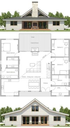 HOUSE PLAN ▪Net area: 1900 sq ft ▪Gross area: 2143 sq ft ▪Bedrooms 3 ▪Bathrooms 2 ▪Floors 1 -this could work for the monitor barn New House Plans, Modern House Plans, Small House Plans, Modern Farmhouse Floor Plans, Tiny Home Plans, House Design Plans, Cheap House Plans, Metal House Plans, Modular Home Plans