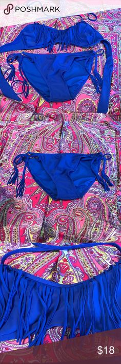 Tasseled bikini Royal blues bikini with haltered fringe top and tie sided bottoms with tasseled ties Swim Bikinis