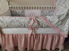 pink and grey nursery | Pink and GRay damask Baby bedding Crib set DEPOSIT by abusymother