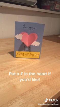 Diy Anniversary Cards For Boyfriend, Handmade Cards For Boyfriend, Homemade Anniversary Cards, Happy Anniversary Cards, Anniversary Crafts, Homemade Birthday Cards, Birthday Cards For Boyfriend, Birthday Diy, Happy Birthday Cards