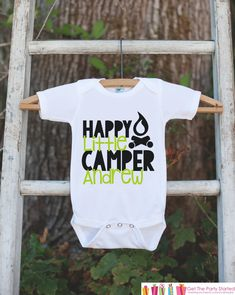 Boy's Happy Camper Outfit - White Shirt, Onepiece - Personalized T-Shirt or Onepiece - Camping Shirt Baby, Toddler, Youth - Adventure