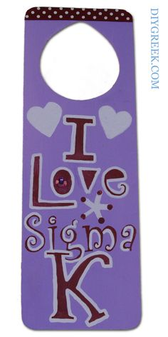 SK Sigma Kappa Door Hanger.  Made by our UGA Rep Marissa.  So cute, used Custom Stencils, Ribbon, Paint and Paint Pens from DIYGreek.com