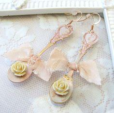 May Challenge Earrings in Soft Peach  Pretty in Peach Earrings  by VRBBoutique