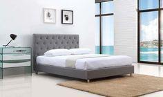 Casabianca MILES II Gray Fabric Queen Bed