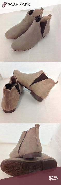 Taupe Ankle Booties Taupe colored ankle booties Suede fabric with rubber soles Brand new and in the box Celebrity NYC Shoes Ankle Boots & Booties