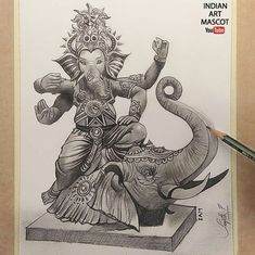 Lord Ganesha Drawing in graphite pencils IndianArtMascot Ganesha Drawing, Pencil Shading, Lord Ganesha, Graphite, Drawings, Happy, Artist, Happiness, Graffiti