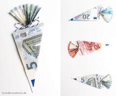 Bald ist es wieder soweit: Die Einschulung :) Wie wäre es mit einem gefalteten Geldschein als Schultüte?