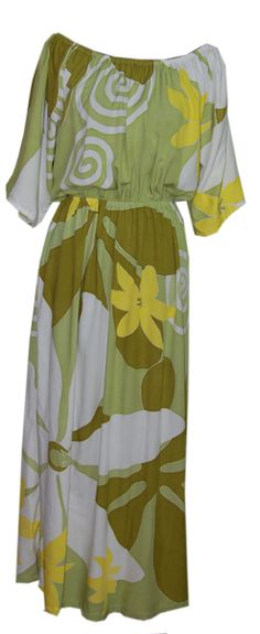 Hawaiian Green Tiare Elastic Maxi Dress, Jade Fashion - Aloha Wear Clothing Store