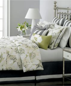 Nice color palette for master bedroom... already have the green and white, just add gray!