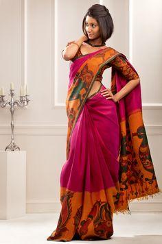 Beautiful hand painted kalamkari on kanhceevaram silk..!!!
