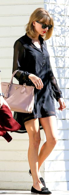 Taylor Swift ; Visiting her mom, Los Angeles, August 2014 ; Zara dress, Miu Miu loafers & Prada bag