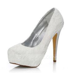 [US$ 62.99] Women's Lace Satin Stiletto Heel Closed Toe Pumps Dyeable Shoes