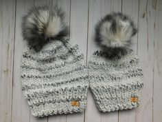 e12fe2ea098e63 Slouchy Mommy and me Matching hat. Slouchy winter hats with faux fur pom pom.  Knitted hats Mom and daughter. Mom and son.Black hats.RTS hat