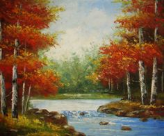 Stream Surrounded By Trees #oilpaintingsstore