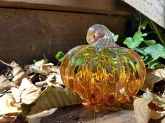 Two-Tone Pumpkin, Blown Glass Orange and Green Pumpkin with Gold Ribs and Stem of Twisted Glass, By Avalon Glassworks Gold Glass, Glass Art, Green Pumpkin, Glass Pumpkins, Glass Collection, Gourds, Art Studios, Hand Blown Glass, Really Cool Stuff