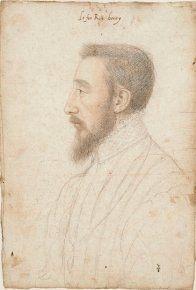 """Portrait d'Henri II, vers 1547, François Clouet, pierre noire et sanguine, Chantilly- Ses devise sont Plena est oemula solis (""""L'émule du soleil est pleine"""") et Donec totum impleat orbem (""""jusqu'à ce qu'elle remplisse le monde entier""""). Roi parfaitement représentatif de la Renaissance française, Henri II poursuit l'oeuvre politique et artistique de son père"""